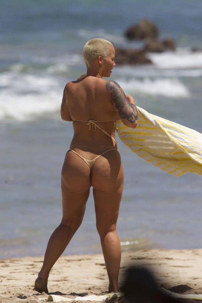 Amber Rose Big Ass in Tiny Thong Bikini