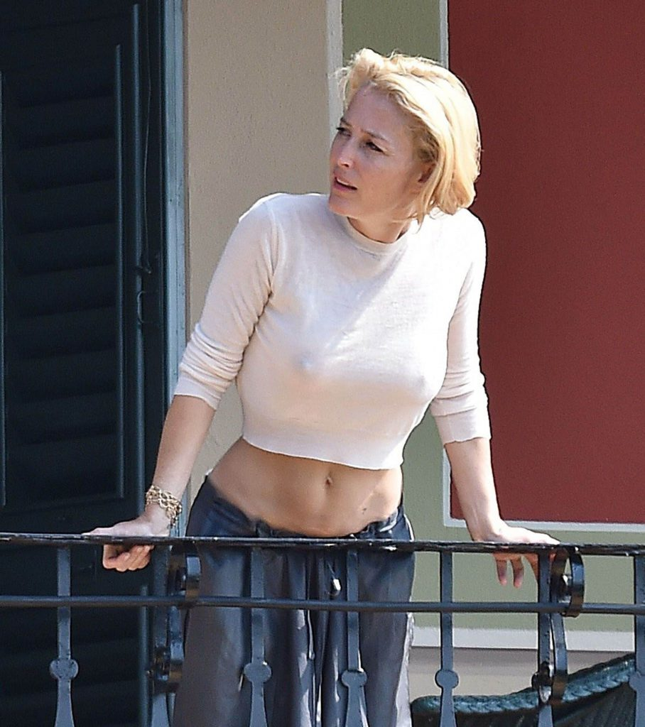 Gillian Anderson Nipples in See-Through Top