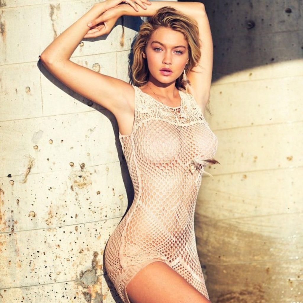 Gigi Hadid Posing Topless  – Guess Photoshoot
